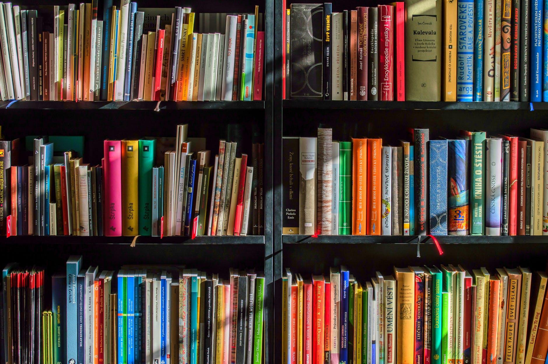 books in black wooden book shelf