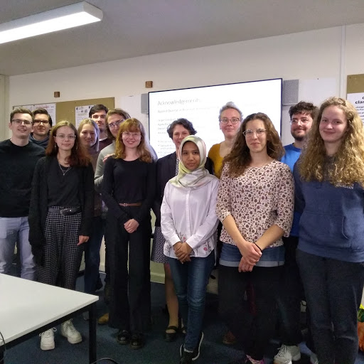 Dr Rachel Shanks (6th from the right) and the 12 University of Aberdeen students of the Applied Qualitative Research Training programme in May 2019